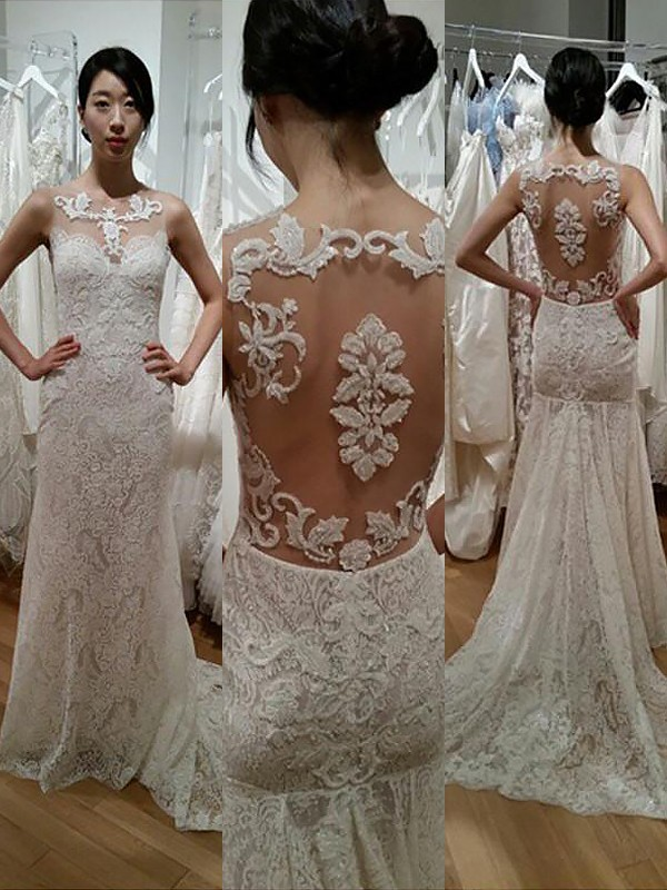 Exquisite Mermaid Lace Scoop Sleeveless Sweep/Brush Train Wedding Dress