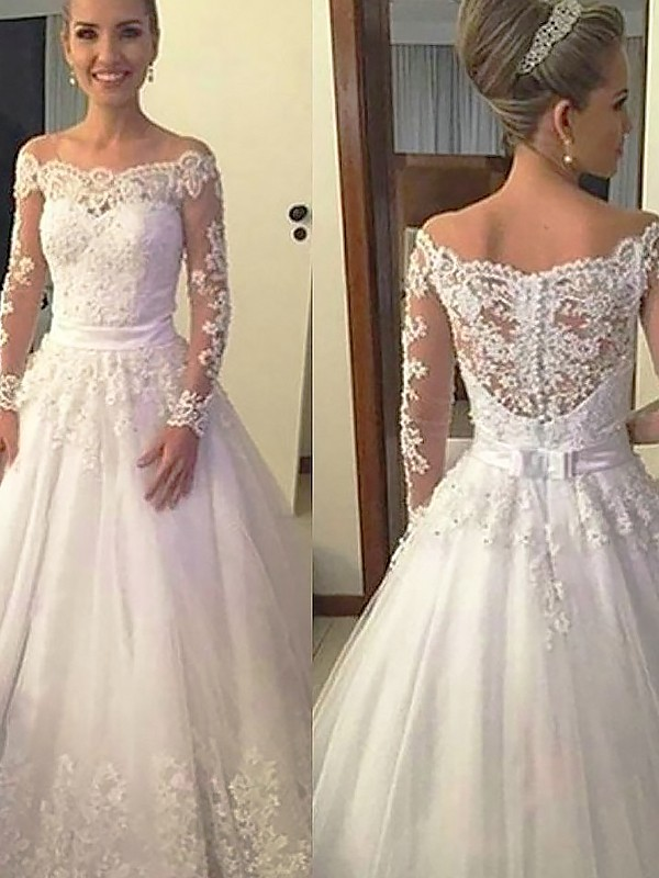 Exquisite Ball Gown Long Sleeves Off-the-Shoulder Lace Tulle Court Train Wedding Dress