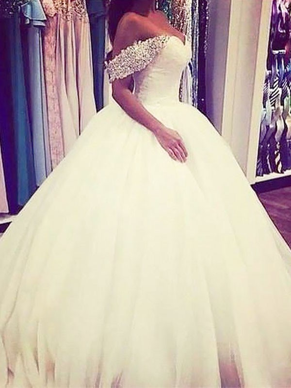 Exquisite Ball Gown Tulle Off-the-Shoulder Sweep/Brush Train Sleeveless Wedding Dress