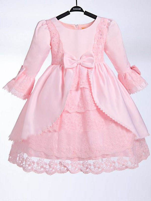 Chic A-line Scoop 3/4 Sleeves Bowknot Tea-length Satin Flower Girl Dress