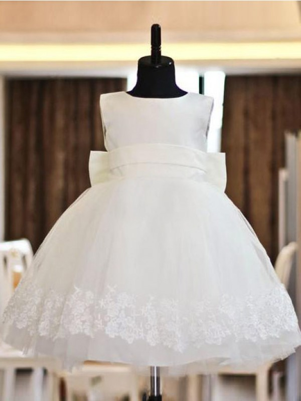 Glamorous A-line Scoop Lace Sleeveless Floor-length Organza Flower Girl Dress