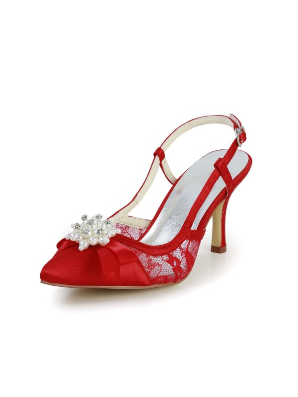 Exquisite Women Satin Stiletto Heel Sandals Closed Toe Pearl Red Wedding Shoes