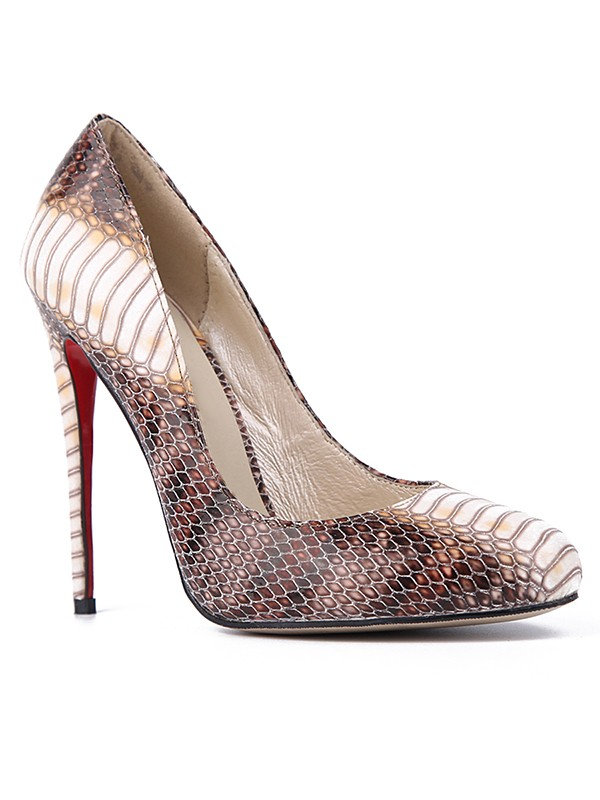 Beautiful Women Snake Print PU Closed Toe Stiletto Heel High Heels