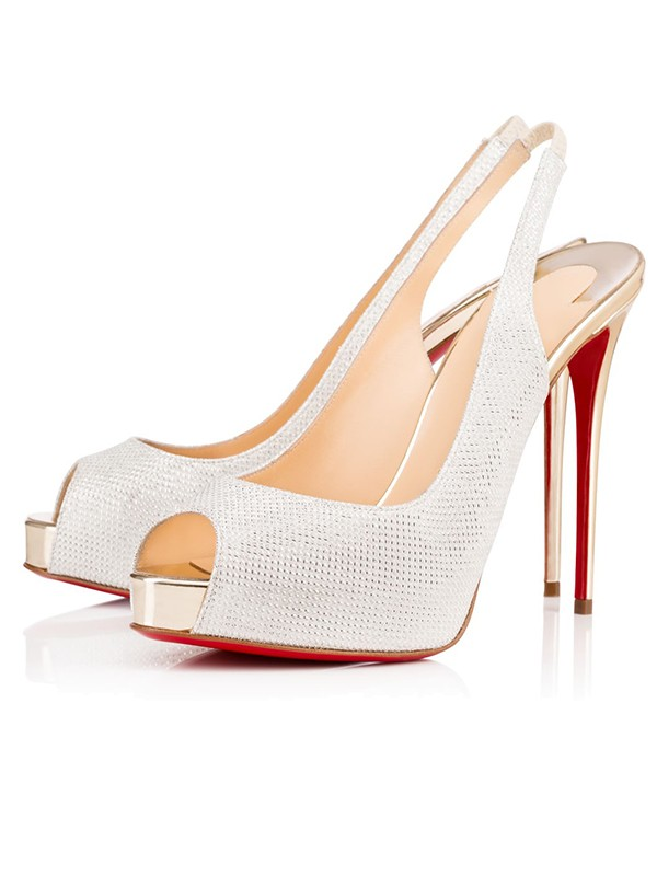Beautiful Women Peep Toe Sparkling Glitter Stiletto Heel Platform White Sandals Shoes