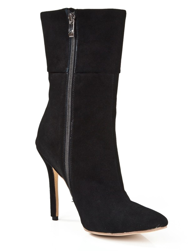 New Women Suede Stiletto Heel Closed Toe Zipper Mid-Calf Black Boots