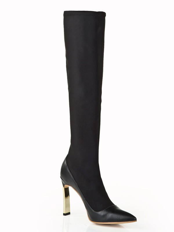 New Women Elastic Leather Stiletto Heel Pearl Knee High Black Boots
