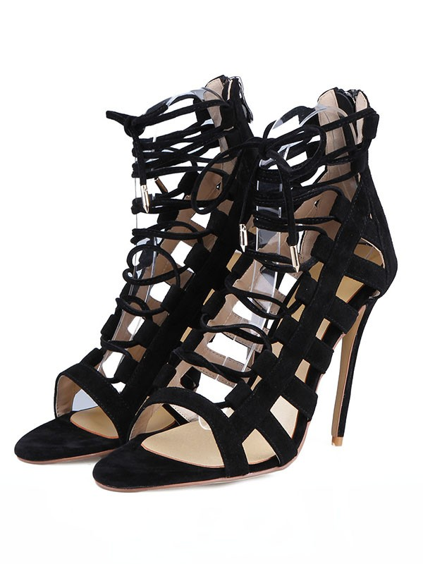 Fancy Women Suede Stiletto Heel Peep Toe Buckle Sandals Shoes