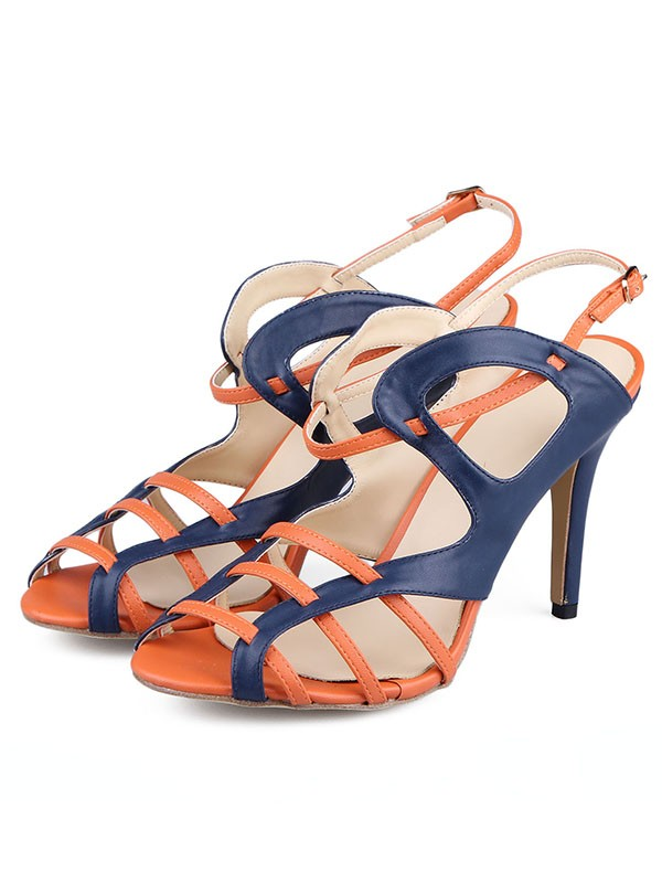 Fancy Women PU Stiletto Heel Peep Toe Buckle Sandals Shoes