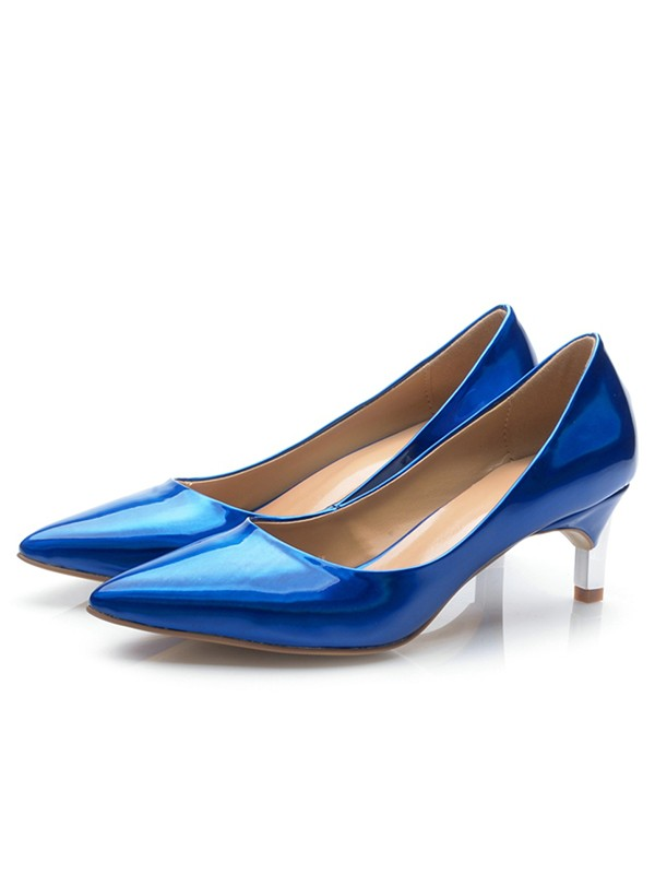 Chic Women Royal Blue Patent Leather Closed Toe Cone Heel High Heels