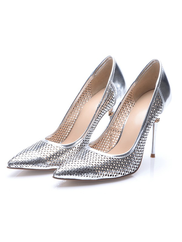 Chic Women Silver Patent Leather Closed Toe Stiletto Heel High Heels