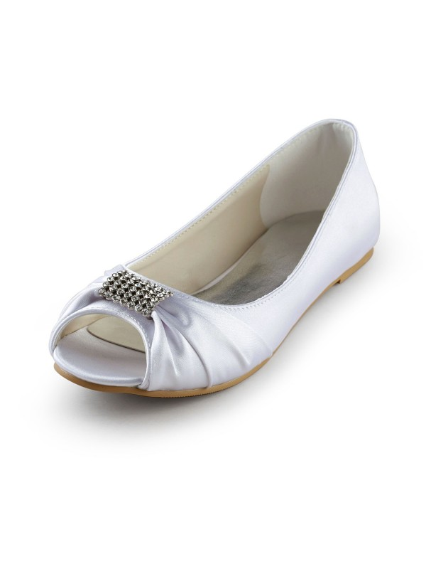 Exquisite Women Satin Flat Heel Peep Toe Sandals White Wedding Shoes