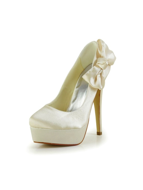 Fashion Women Satin Stiletto Heel Closed Toe Platform Champagne Wedding Shoes