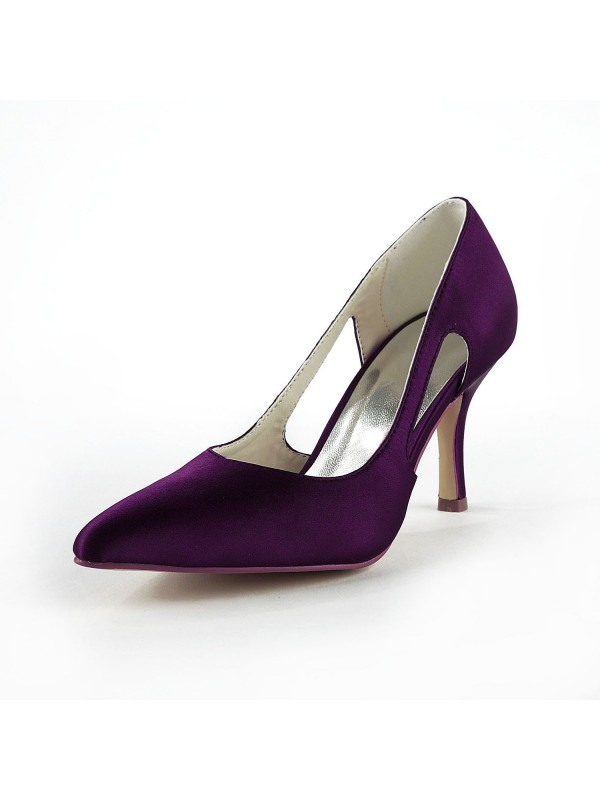 Fashion Women Satin Stiletto Heel Closed Toe Pumps Grape Wedding Shoes