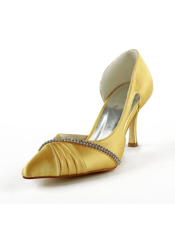 Fashion Women Satin Stiletto Heel Closed Toe Pumps Gold Wedding Shoes