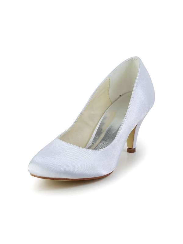 Exquisite Women Simples Satin Cone Heel Closed Toe White Wedding Shoes