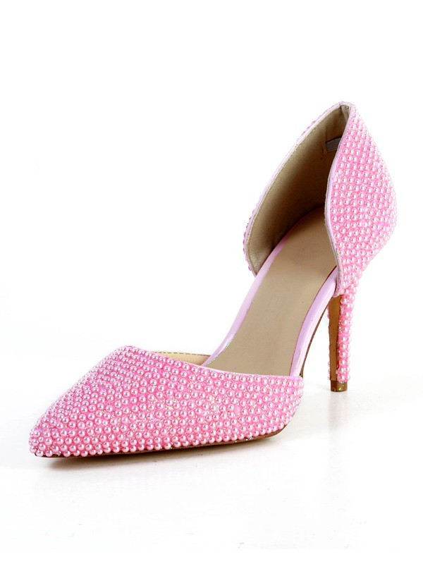 Chic Women Patent Leather Stiletto Heel Closed Toe Pearl High Heels