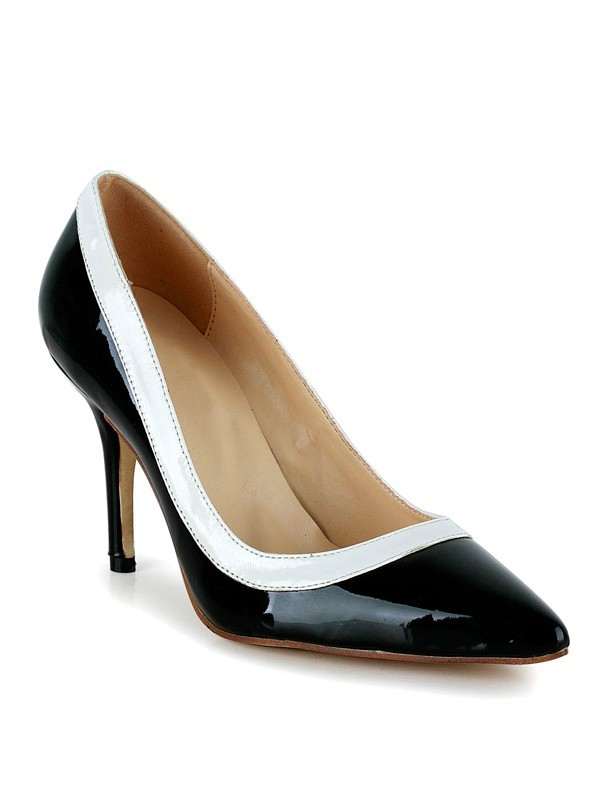 Chic Women Cone Heel Closed Toe Patent Leather Office High Heels