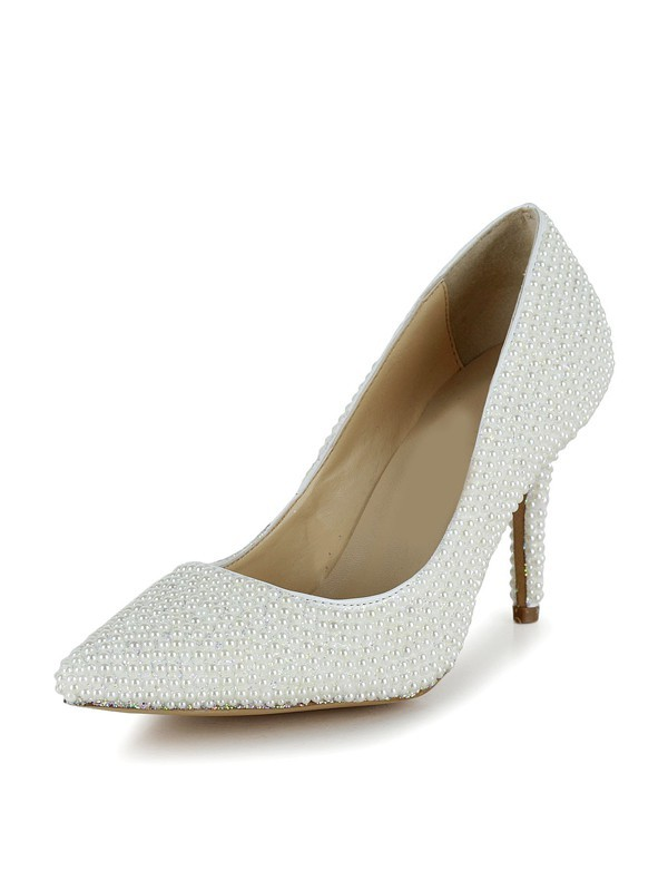 Classical Women Stiletto Heel Patent Leather Closed Toe Pearl White Wedding Shoes