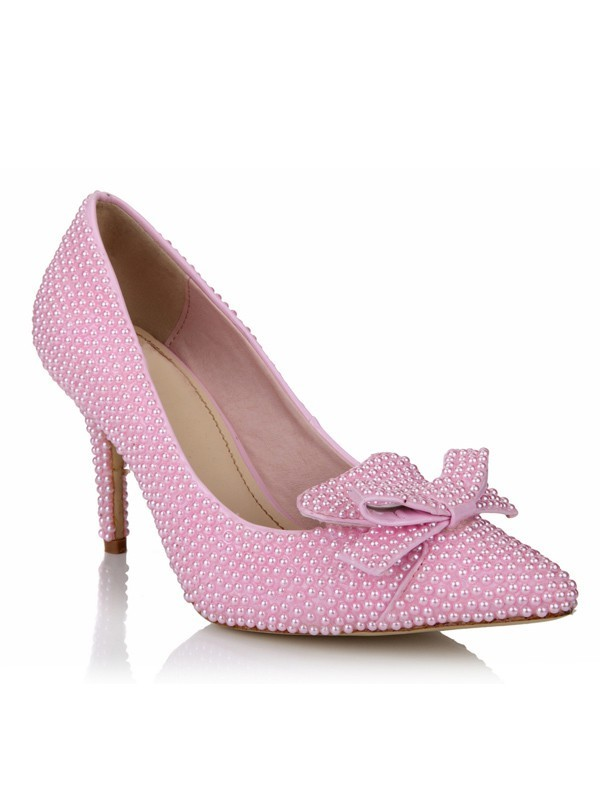 Classical Women Stiletto Heel Patent Leather Closed Toe Pearl Pink Wedding Shoes