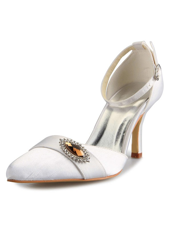 Classical Women Mary Jane Satin Stiletto Heel Closed Toe White Wedding Shoes