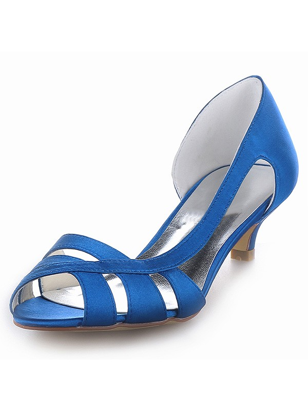 Hot Sale Women Satin Peep Toe Kitten Heel Sandals Shoes