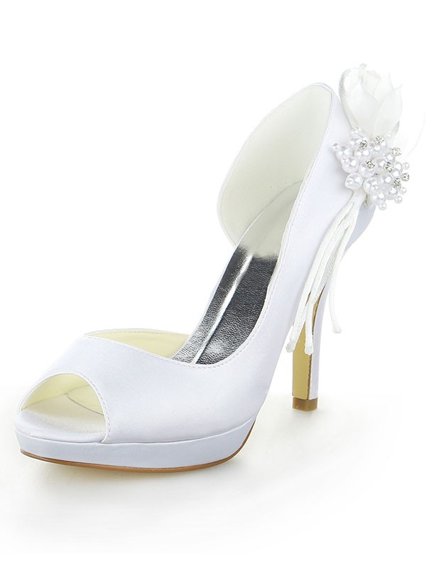 Classical Women Satin Platform Peep Toe Stiletto Heel Pearl White Wedding Shoes