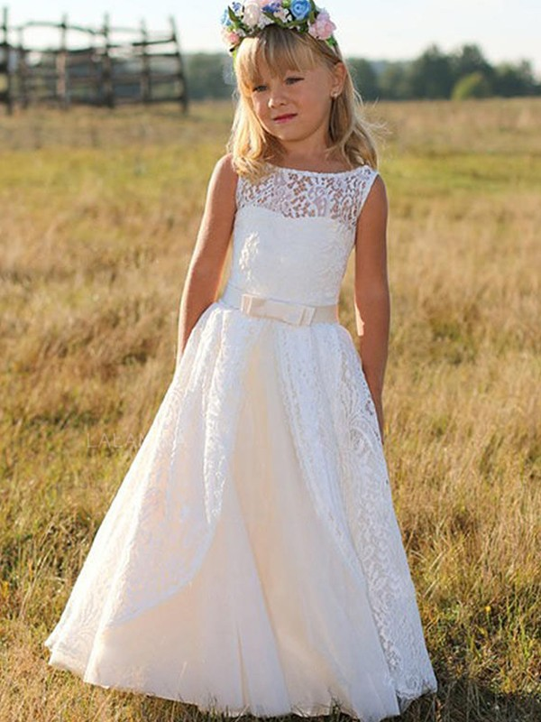 Fashion A-Line Sleeveless Scoop Floor-Length Lace Flower Girl Dress