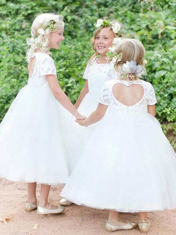 New Ball Gown Short Sleeves Scoop Tea-Length Lace Tulle Flower Girl Dress