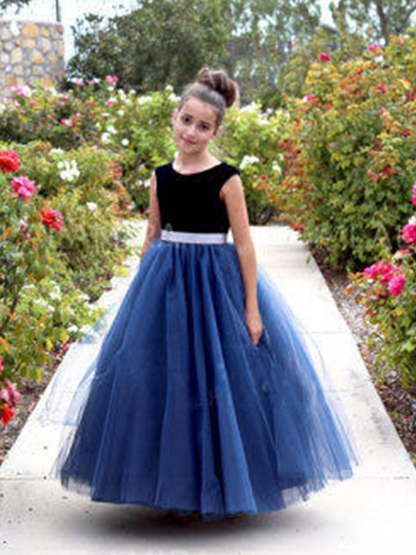 30b46abd7c Amazing A-Line Sleeveless Scoop Ankle-Length Tulle Flower Girl Dress ...