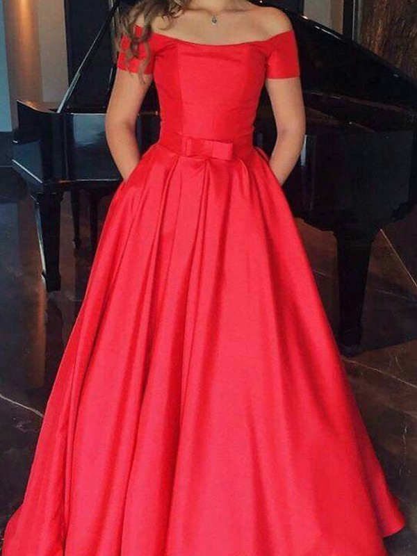 Stylish A-Line Sleeveless Off-the-Shoulder Floor-Length Satin Dress