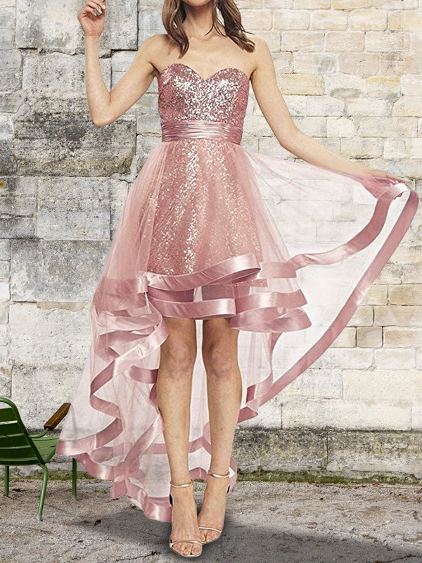 Glamorous A-Line Sleeveless Sweetheart Asymmetrical Sequin Organza Dress