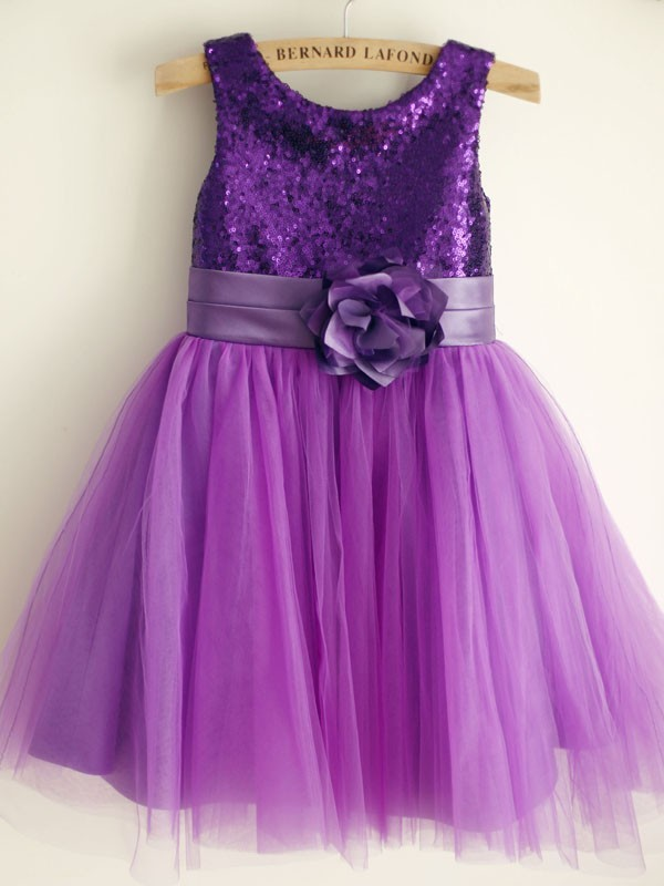 Affordable A-Line Tulle Scoop Sleeveless Knee-Length Flower Girl Dress