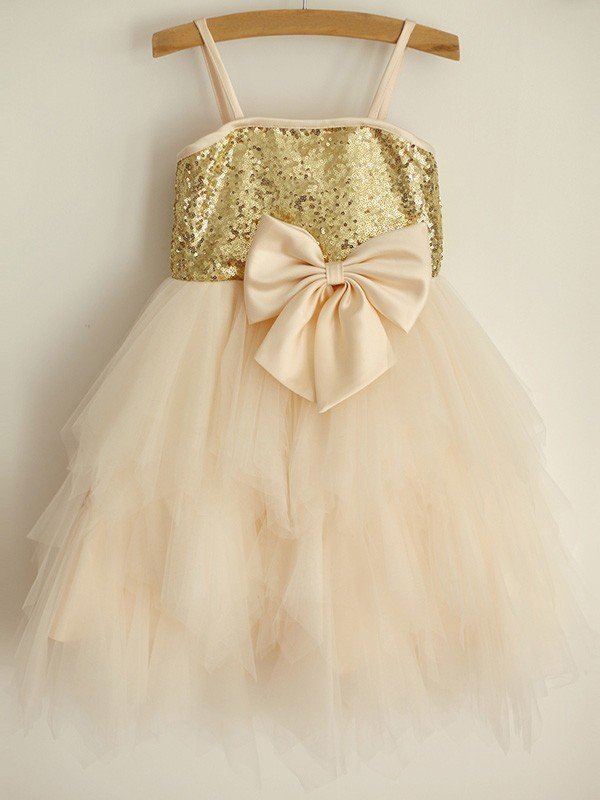 Fashion A-Line Spaghetti Straps Sequin Sleeveless Tulle Knee-Length Flower Girl Dress