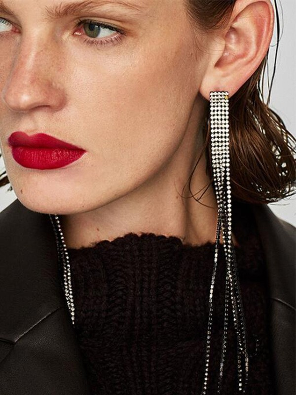 New Hot Sale Alloy With Tassel Long Earrings