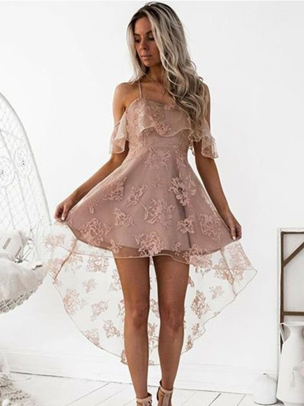 Fashion A-Line Off-the-Shoulder Lace Satin Short/Mini Dress