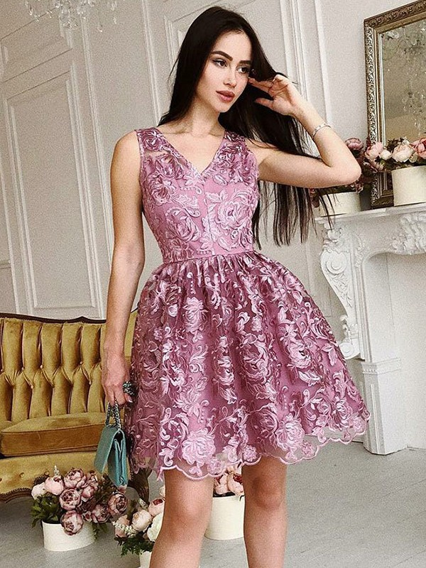 New A-Line V-Neck Sleeveless Organza Short/Mini Dress