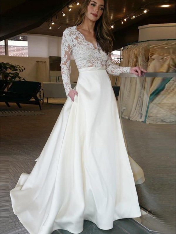 New A-Line Long Sleeves Sweep/Brush Train V-neck Satin Wedding Dress