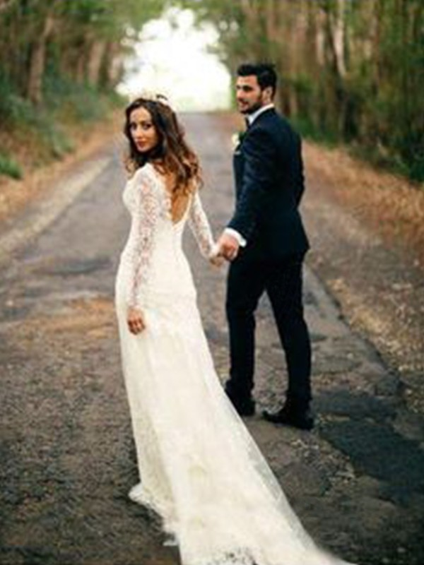Charming Sheath Long Sleeves V-neck Court Train Lace Wedding Dress