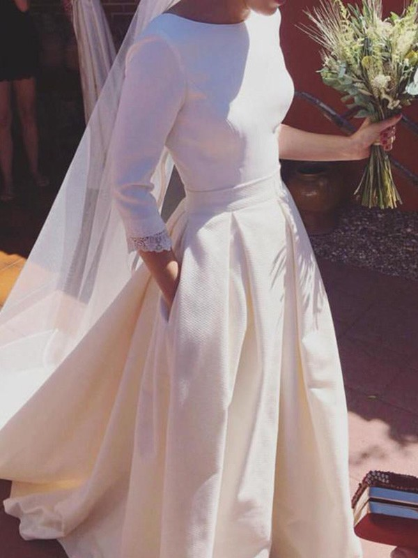 Affordable A-Line 3/4 Sleeves Scoop Sweep/Brush Train Satin Wedding Dress