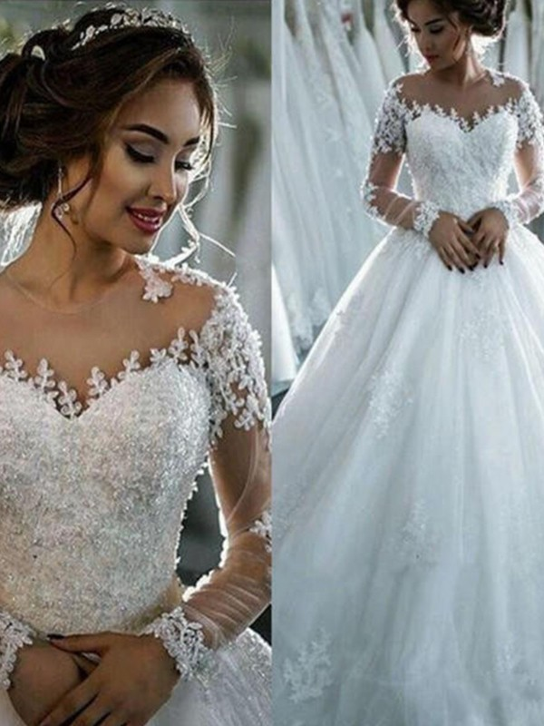 Cheap Ball Gown Tulle Scoop Long Sleeves Court Train Wedding Dress