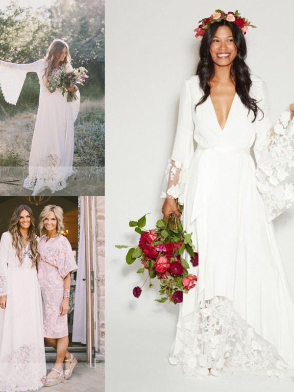 Exquisite A-Line V-neck Lace Chiffon Long Sleeves Floor-Length Wedding Dress