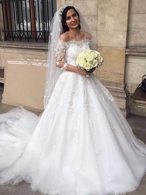 New Ball Gown Tulle Off-the-Shoulder 3/4 Sleeves Chapel Train Wedding Dress