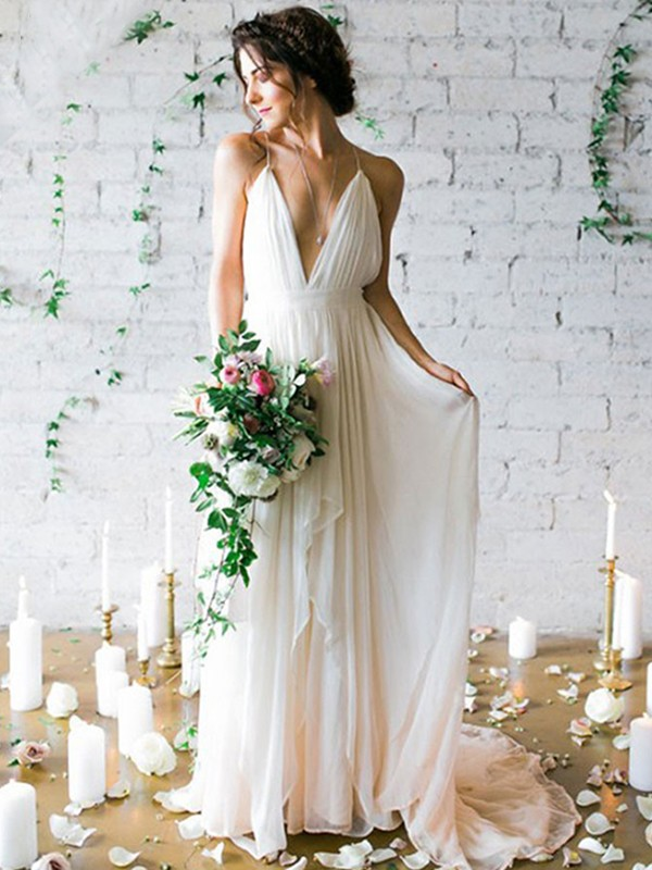 Stylish A-Line Chiffon Sleeveless Spaghetti Straps Sweep/Brush Train Wedding Dress
