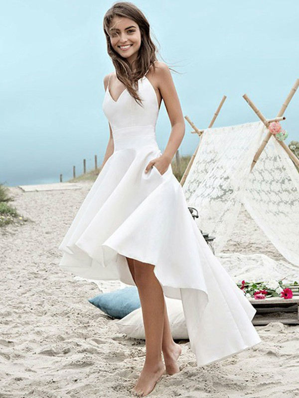 Glamorous A-Line Satin Sleeveless Spaghetti Straps Asymmetrical Wedding Dress