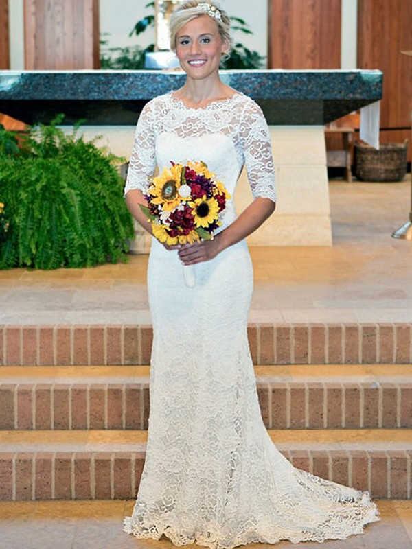 Stunning Sheath Lace Scoop 1/2 Sleeves Sweep/Brush Train Wedding Dress