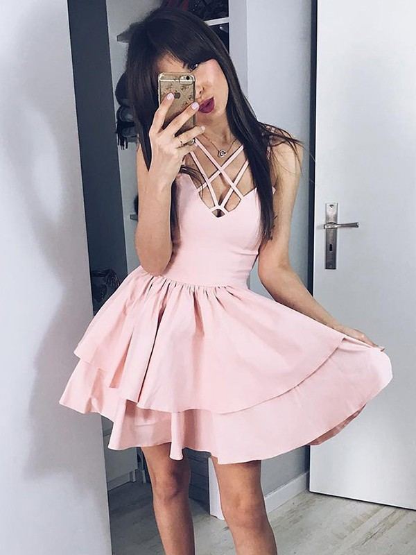 Fashion A-Line Satin Spaghetti Straps Short Dress
