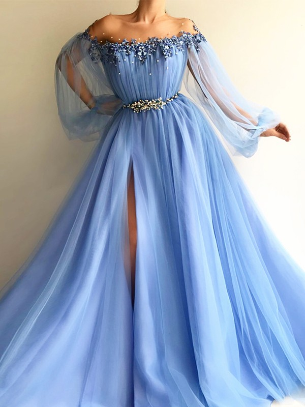Nice A-Line Long Sleeves Off-the-Shoulder Tulle Floor-Length Dress