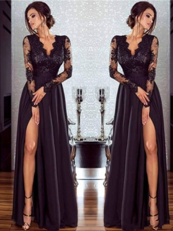 Chic A-Line Long Sleeves V-neck Floor-Length Lace Chiffon Dress