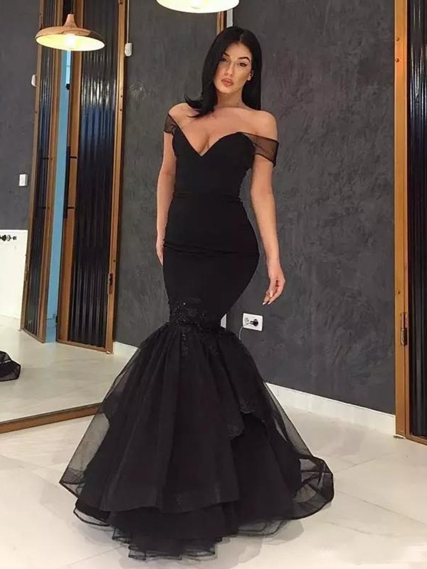 Fashion Mermaid Sleeveless Off-the-Shoulder Sweep/Brush Train Tulle Dress
