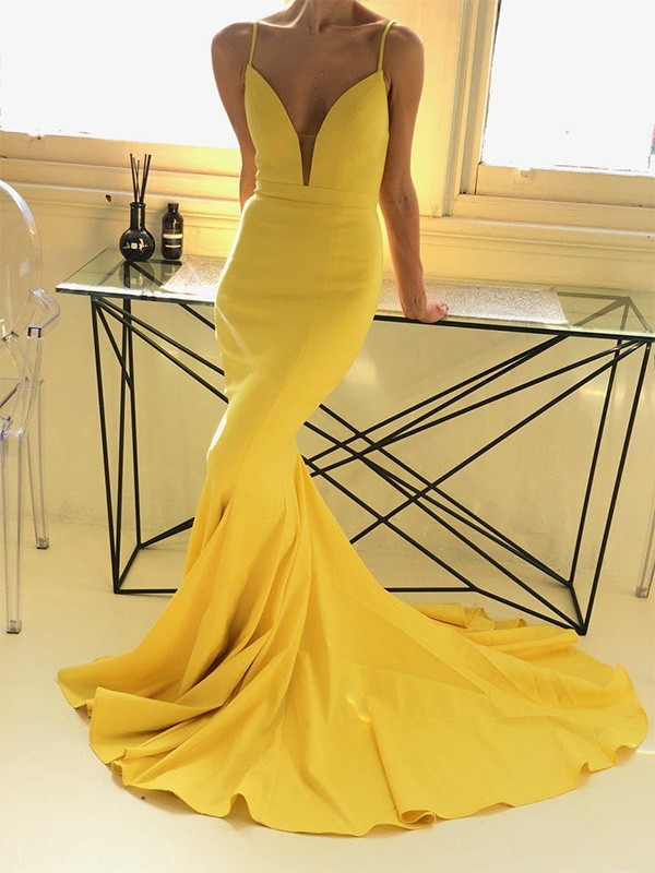 Charming Mermaid Sleeveless Spaghetti Straps Sweep/Brush Train Satin Dress
